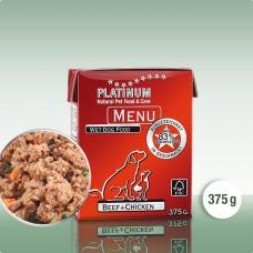 Platinum Menu Beef+Chicken - natūralus begrūdis paštetas šunims su jautiena ir vištiena, 375g