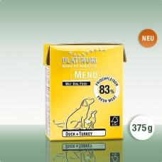 Platinum Menu Duck+Turkey - natūralus begrūdis paštetas šunims su antiena ir kalakutiena, 375 g