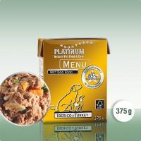 Platinum Menu Iberico+Turkey - natūralus begrūdis paštetas šunims su Iberijos kiaulių mėsa ir kalakutiena, 375 g