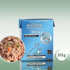 Platinum Menu Puppy Chicken - natūralus begrūdis paštetas šuniukams ir jauniems šunims su vištiena, 375 g