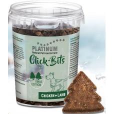 Platinum Click-Bits Chicken+Lamb Xmas Edition - riboto leidimo skanėstas vištiena+ėriena, mažas riebalų kiekis (gabaliukai, 300 gr)