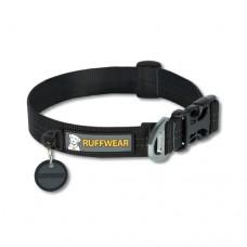 Ruffwear Hoopie™ Collar Obsidian Black - minkštas austinis besiūlis antkaklis, juodas