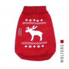 "Wolters Knit Pullover Elk ""Mops&Co"", red/white - raudonas megztinis su baltu elniuku, šunims su plačia krūtine"