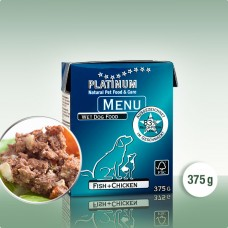 Platinum Menu Fish+Chicken - natūralus begrūdis paštetas šunims su žuvimi ir vištiena, 375g