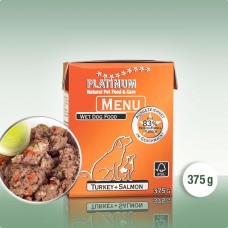 Platinum Menu Turkey+Salmon - natūralus begrūdis paštetas šunims su kalakutiena ir lašiša, 375g